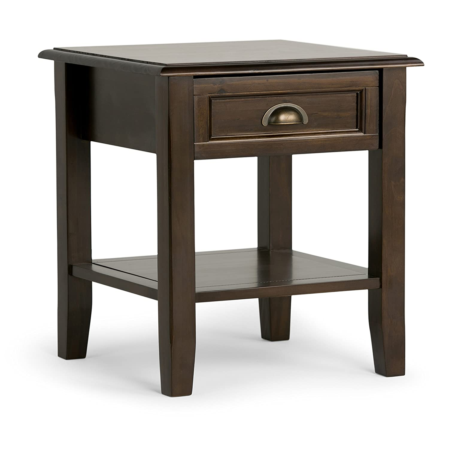 Simpli Home 3AXCBUR-002 Burlington Solid Wood 18 inch Wide Square Traditional End Side Table in Espresso Brown