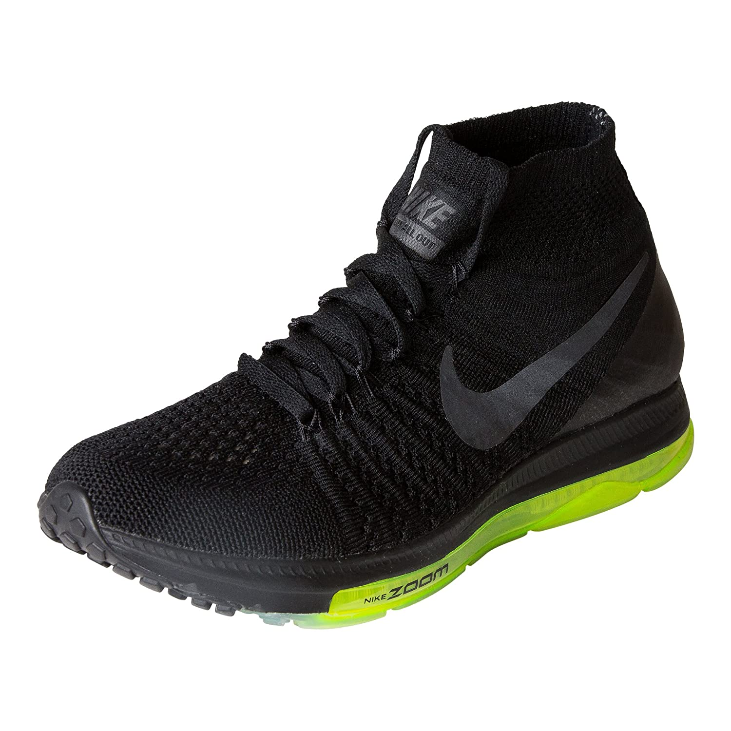 Nike Women's Zoom All Out Flyknit Running Shoes B00595J9N0 6 D(M) US|Black Black Volt 001