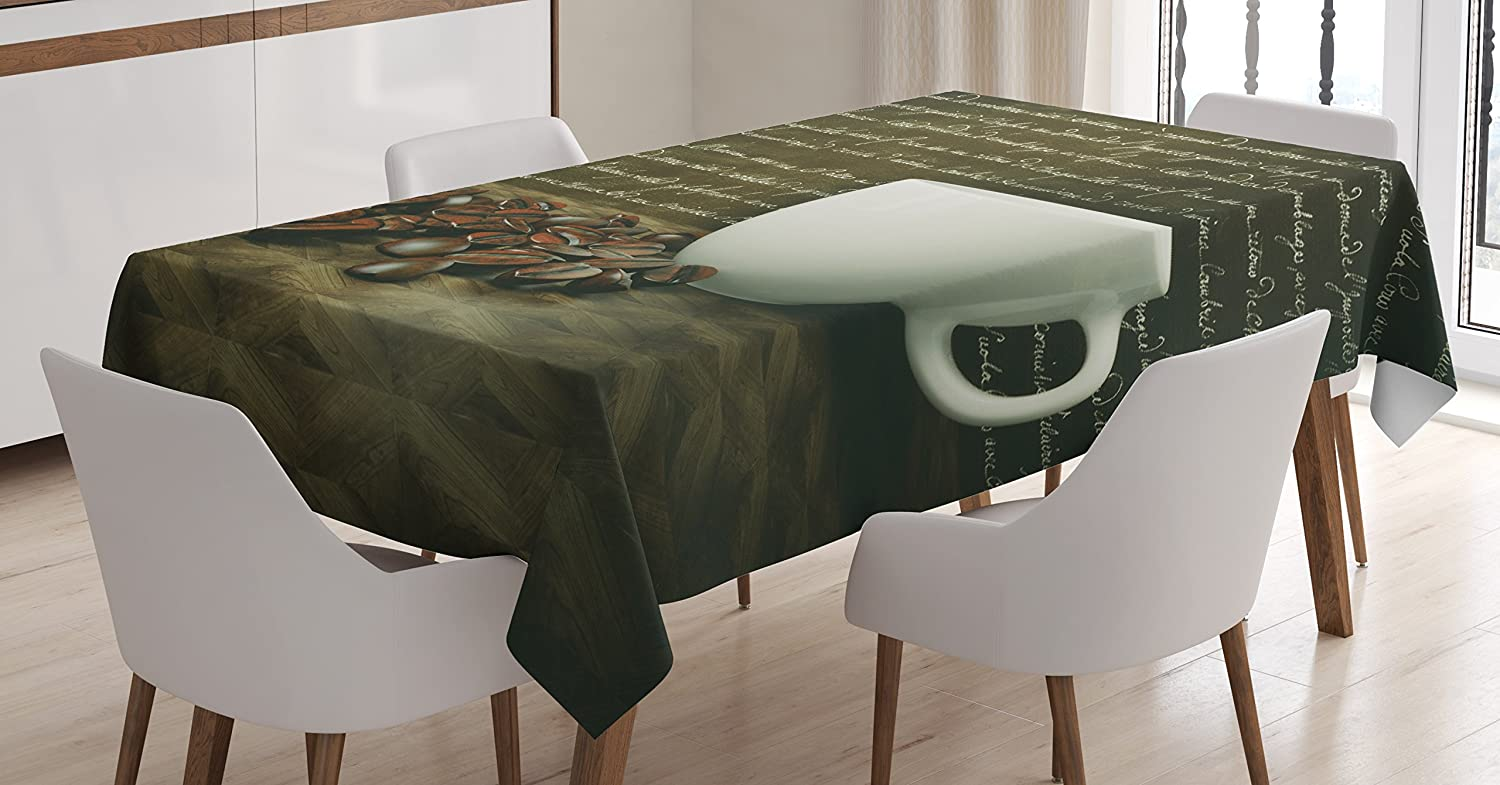 Ambesonne Coffee Decor Tablecloth, White Cup and Coffee Beans on Dark Background with Letters Breakfast Classic Artwork, Dining Room Kitchen Rectangular Table Cover, 60 X 90 inches