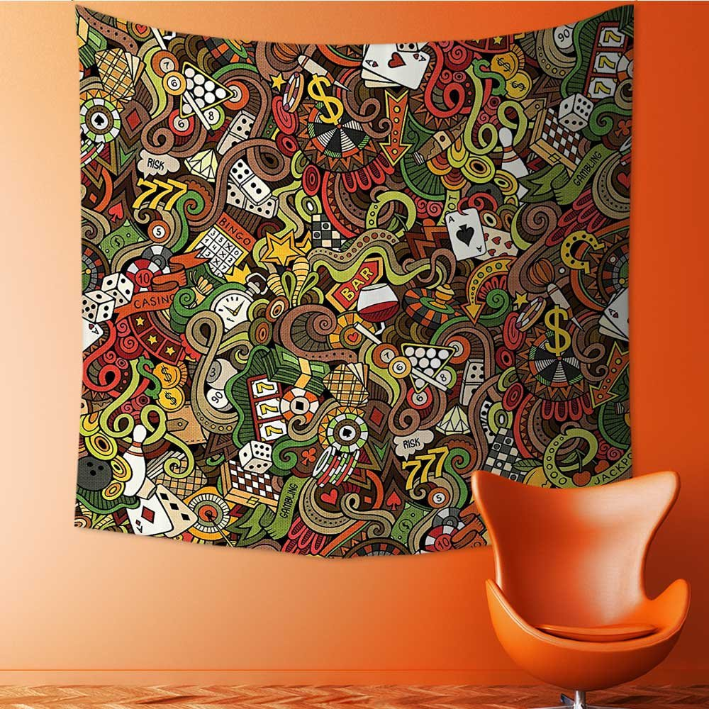 Nalahomeqq Casino Decorations Custom tapestry By Doodles Style Art Bingo Excitement Checkers King Tambourine Vegas drawing room Decoration Extralong 40 W x 60 L INCH