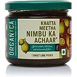 Organica Homemade Sweet and Sour Lime Pickle Khatta Meetha Nimbu Ka Achaar in Olive Oil 350gm