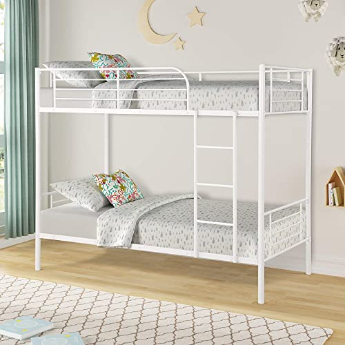 Twin Over Twin Metal Bunk Beds, Rockjame Space Saving Design Sleeping Bedroom Twin Bed with Ladder and Safety Rail for Boys, Girls, Kids, Young Teens and Adults White