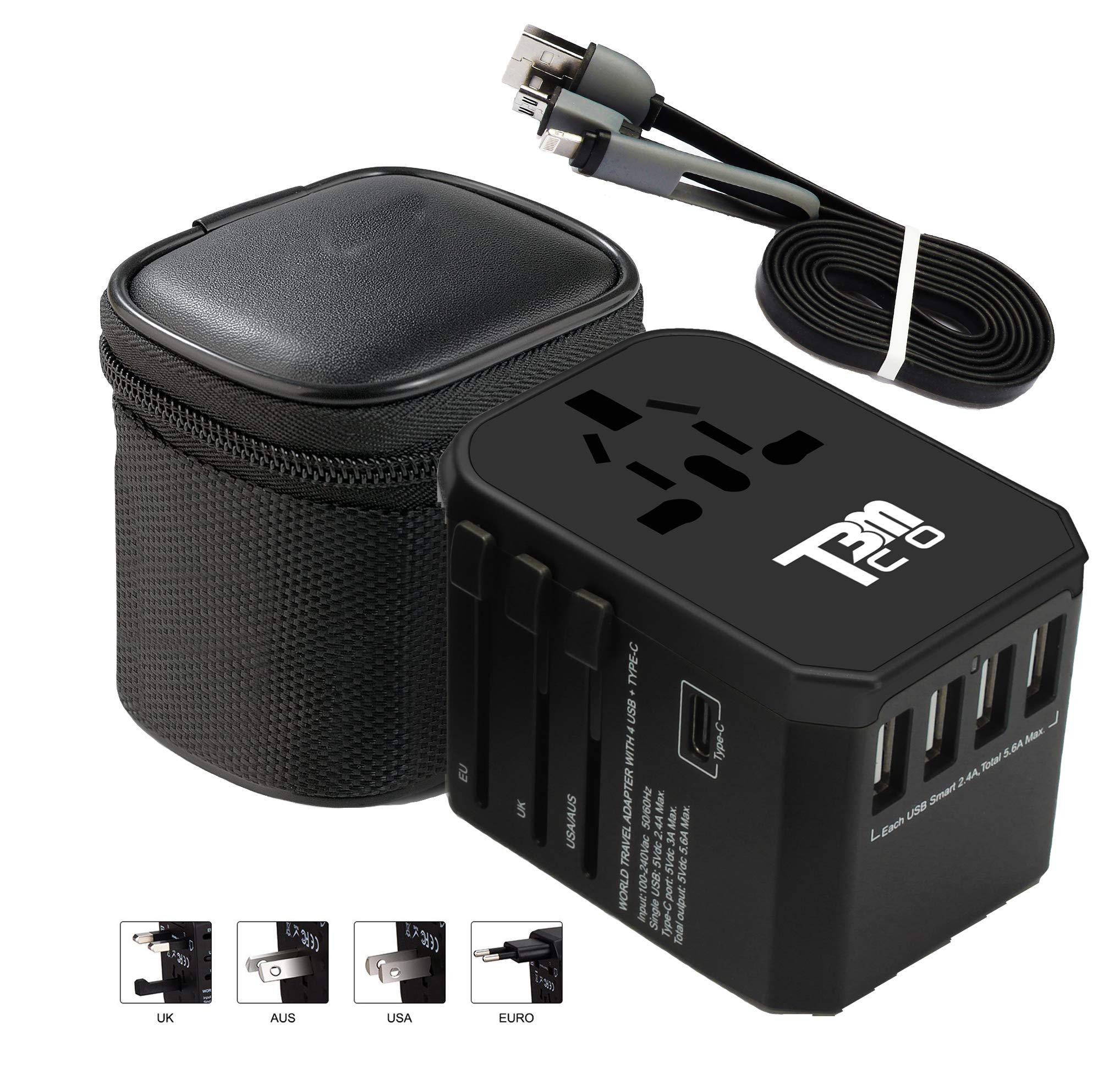 T3MCO Travel Adapter, Travel Adapter UK to Europe, 5 Colors, USA Travel Adapter, Aus Travel Adapter, Universal Travel Adapter, USB Travel Adapter (Black, 4 USB + Type C)