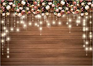 Sunlit Floral Wedding Photo Backdrop 7x5 ft, Flower Rustic Wood Photography Background