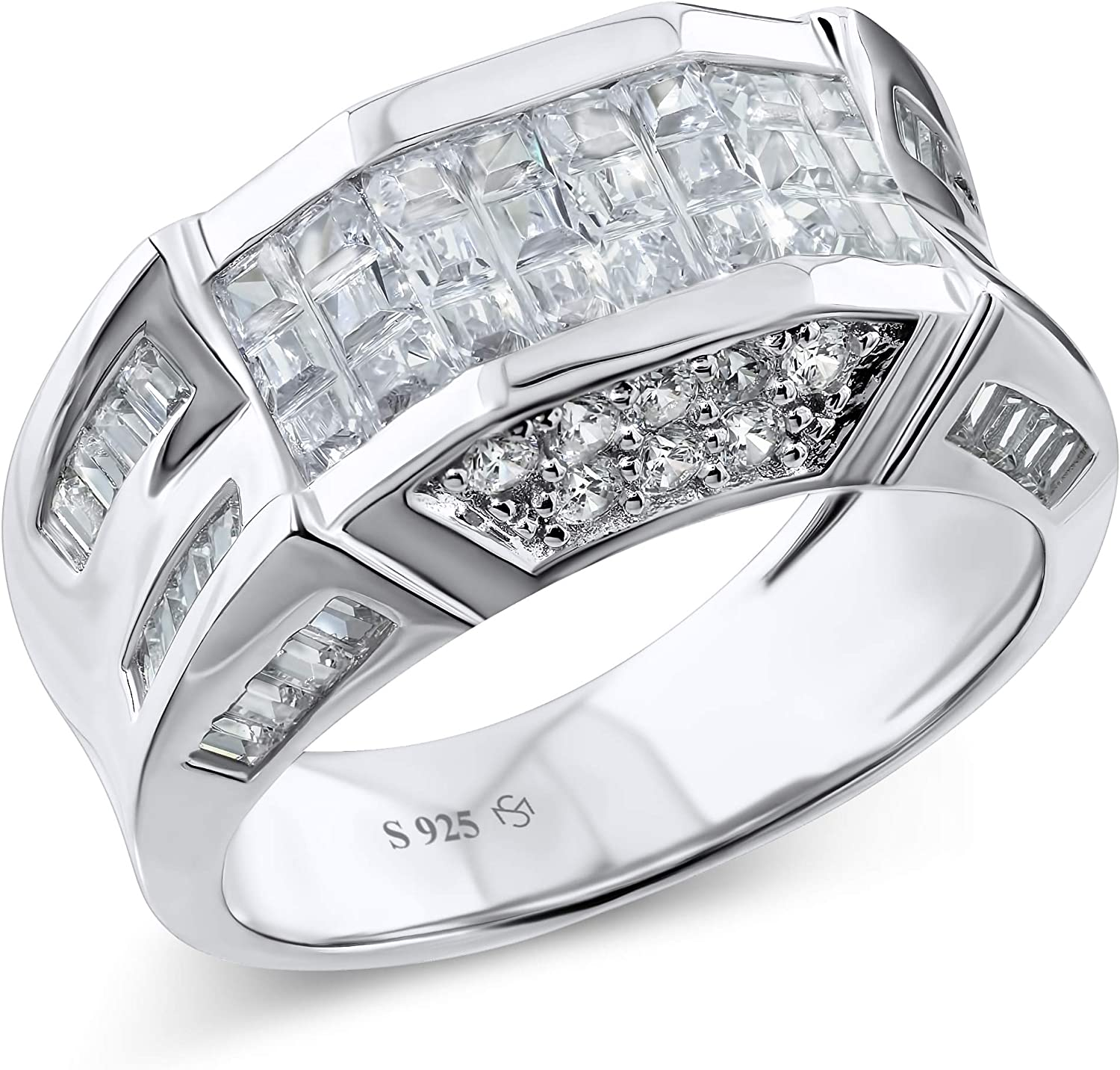 [2-5 Days Delivery] Men's Sterling Silver .925 Designer Ring Band Featuring 52 Round and Baguette Invisible and Channel Set Cubic Zirconia (CZ) Stones