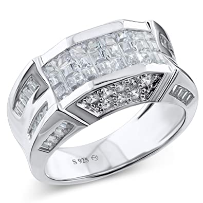 ee00d8a1ea389 Men's Sterling Silver .925 Designer Ring Band Featuring 52 Round and  Baguette Invisible and Channel Set Cubic Zirconia (CZ) Stones