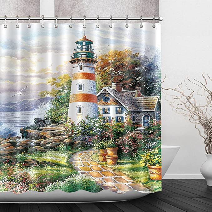 100/% Polyester Fabric Oil Painting Seaside Lighthouse Shower Curtain Bath Mat