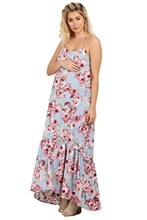 647e30fdace PinkBlush Maternity Light Blue Rose Ruffle Trim Maxi Dress