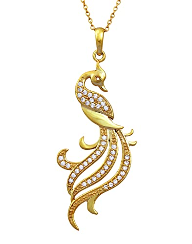 02d486fee Buy Exxotic Jewelz Antique Design Sterling Silver Mayur & Peacock Pendants  Jewellery for Girls & Women (Gold) Online at Low Prices in India | Amazon  ...