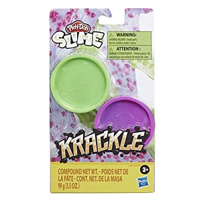 Play-Doh Krackle Slime Purple & Green 2 Pack of Slime Compound with Beads for Kids 3 Years & Up: Toys & Games