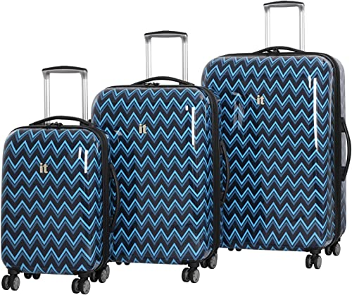 IT Luggage Virtuoso 22-Inch Hardside Carry-On Spinner Peacoat Blue Double Chevron