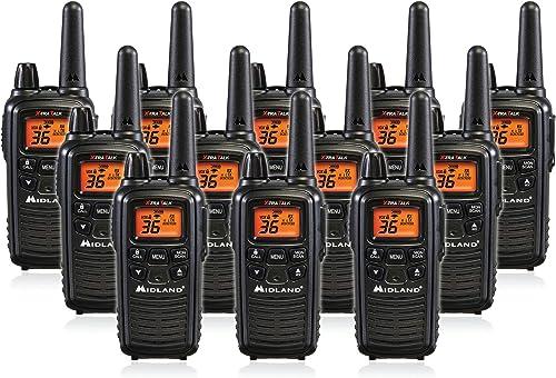 Midland LXT600VP3 36 Channel FRS Two-Way Radio – Up to 30 Mile Range Walkie Talkie – Black Pack of 12