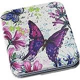 Pink Flamingo Rectangular Butterfly Dual Magnification Folding Makeup Compact Mirror