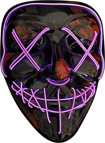 LED Full Scary Face Mask Purge Movie EL Wire DJ Party Halloween Costume Cosplay
