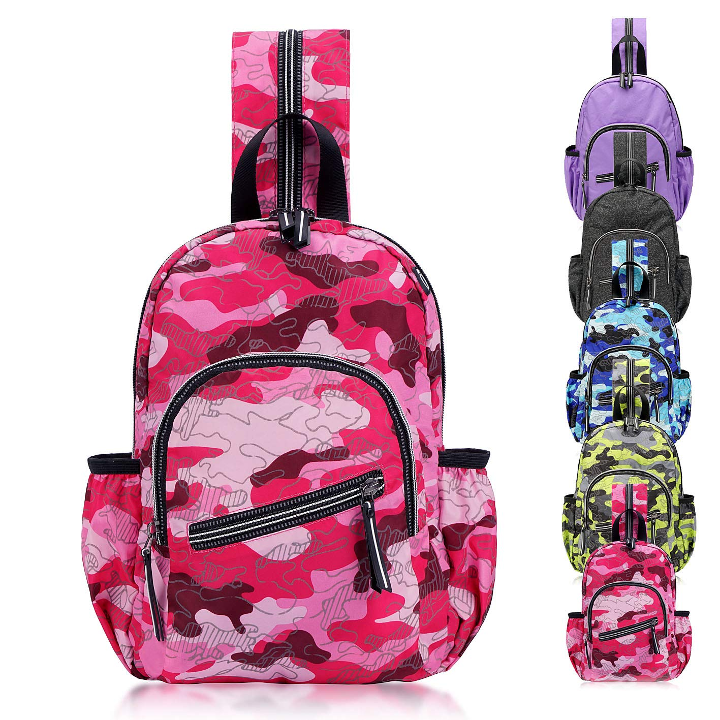 e3e70da9dba6 DivaCat Packable Sling Backpack, Durable Waterproof Crossbody Bag, Daypack  for School Travel Hiking Biking Camping Outdoor Camel Pink