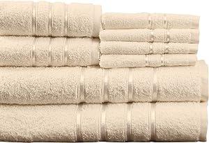 Lavish Home 8 Piece 100% Cotton Plush Bath Towel Set - Bone
