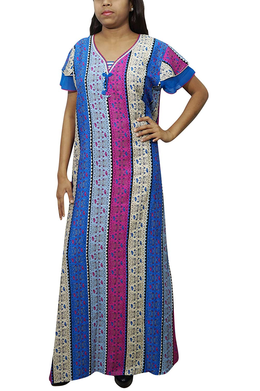 Indiatrendzs Womens Nightgown Printed Strachable Hosiery Maxi Evening Wear  Pink Blue  Amazon.in  Clothing   Accessories 08cd30440