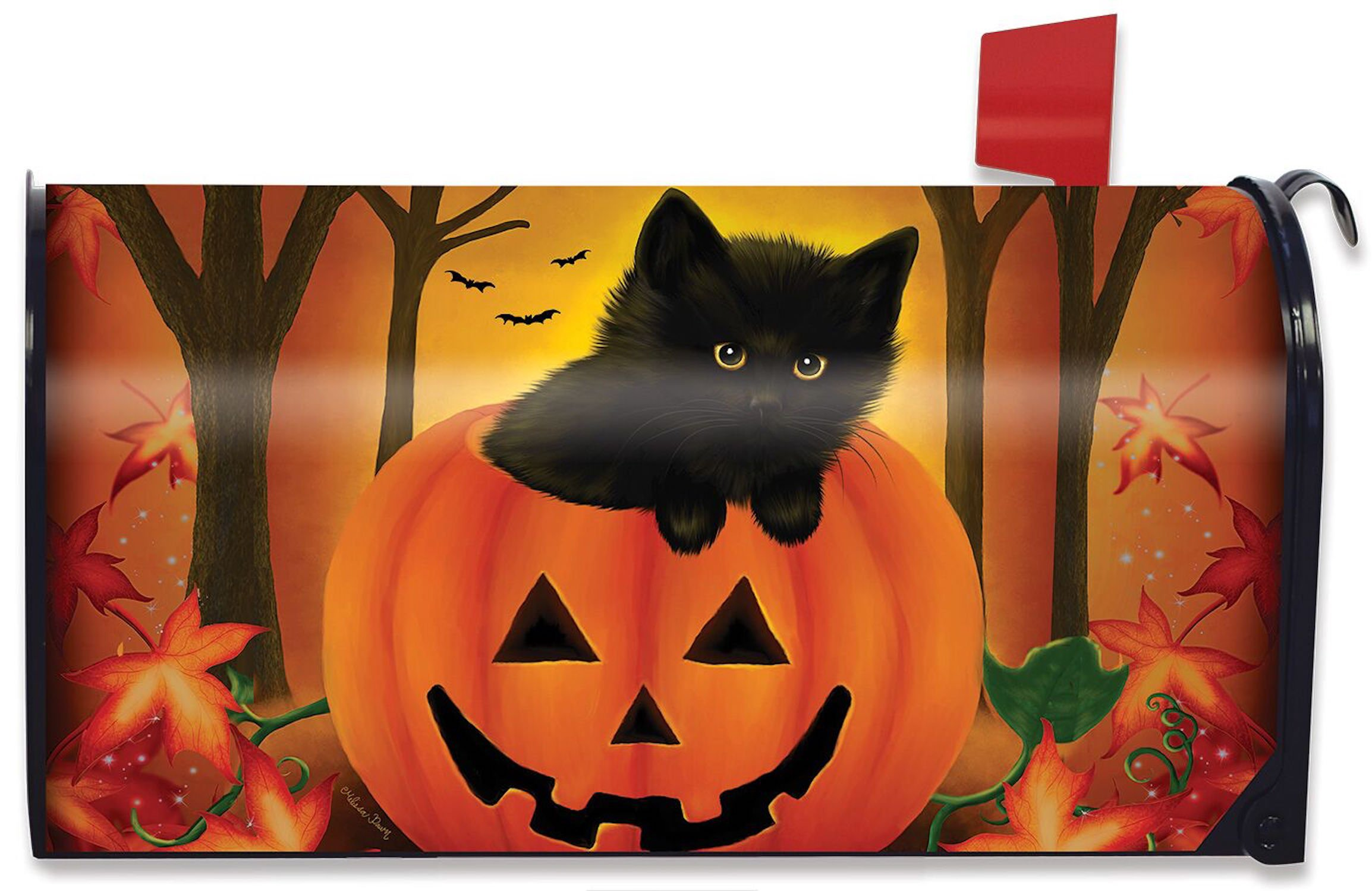 Briarwood Lane Halloween Kitten Magnetic Mailbox Cover Jack o'Lantern Holiday