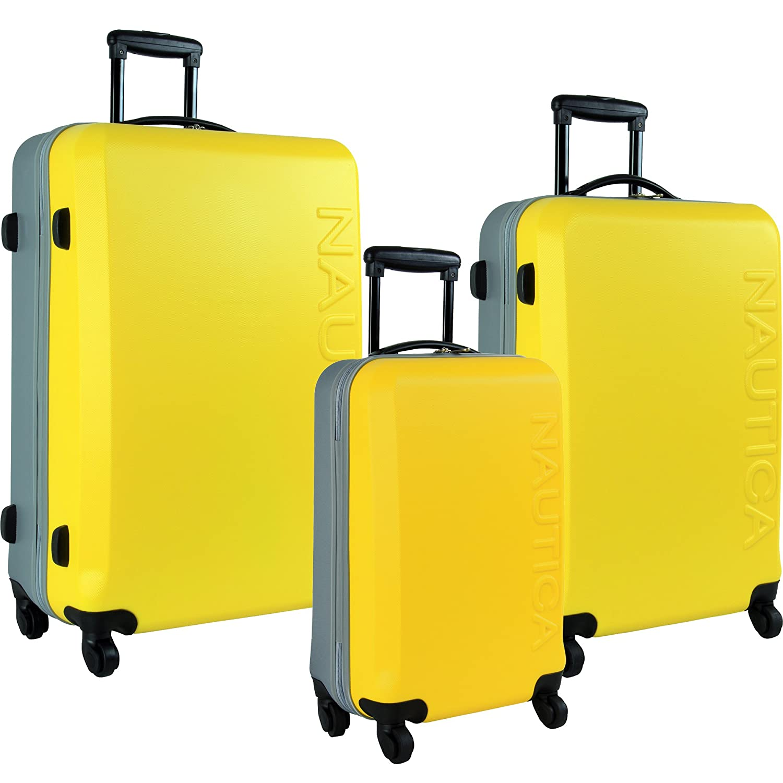 Nautica 3 Piece Hardside Spinner Luggage Suitcase Set