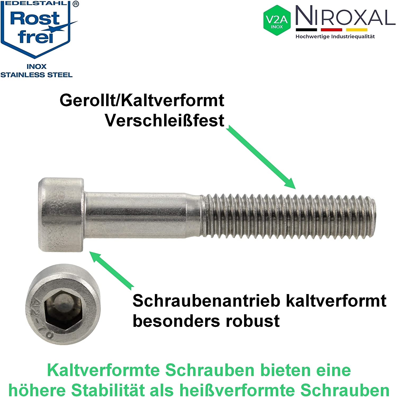 Edelstahl Zylinder-Schraube rostfrei V2A M4-mm stark 35-mm Schrauben-L/änge 25 St/ück 20-mm Teil-Gewinde Innensechskant M4x35