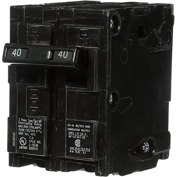 Siemens Q24040ct2 Two 40 Amp Double Pole Circuit Breaker Magnetic Circuit Breakers Amazon Com