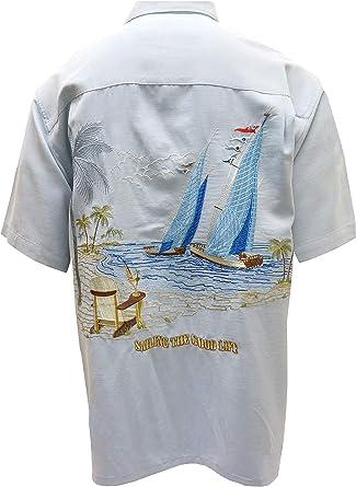 Bamboo Cay Sailing The Good Life Back Embroidered Camp Shirt