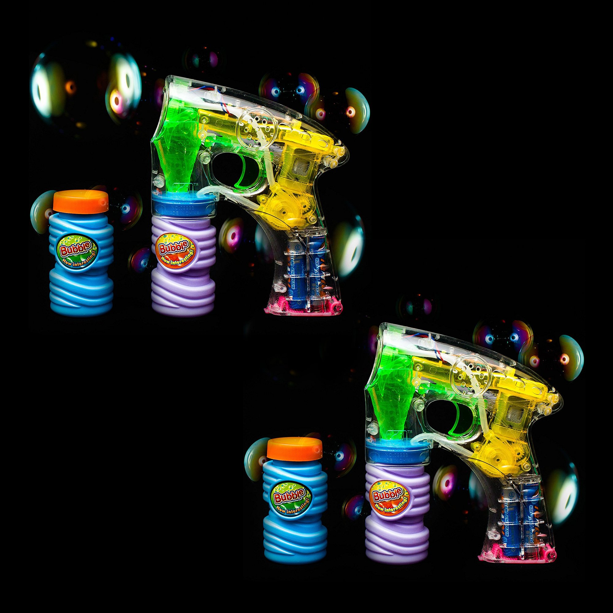 Fun Central C205 2 pack 6 inch LED Light Up Bubble Gun, Bubble Gun Blower Set, Toy Light Up Gun, Bubble Guns For Kids
