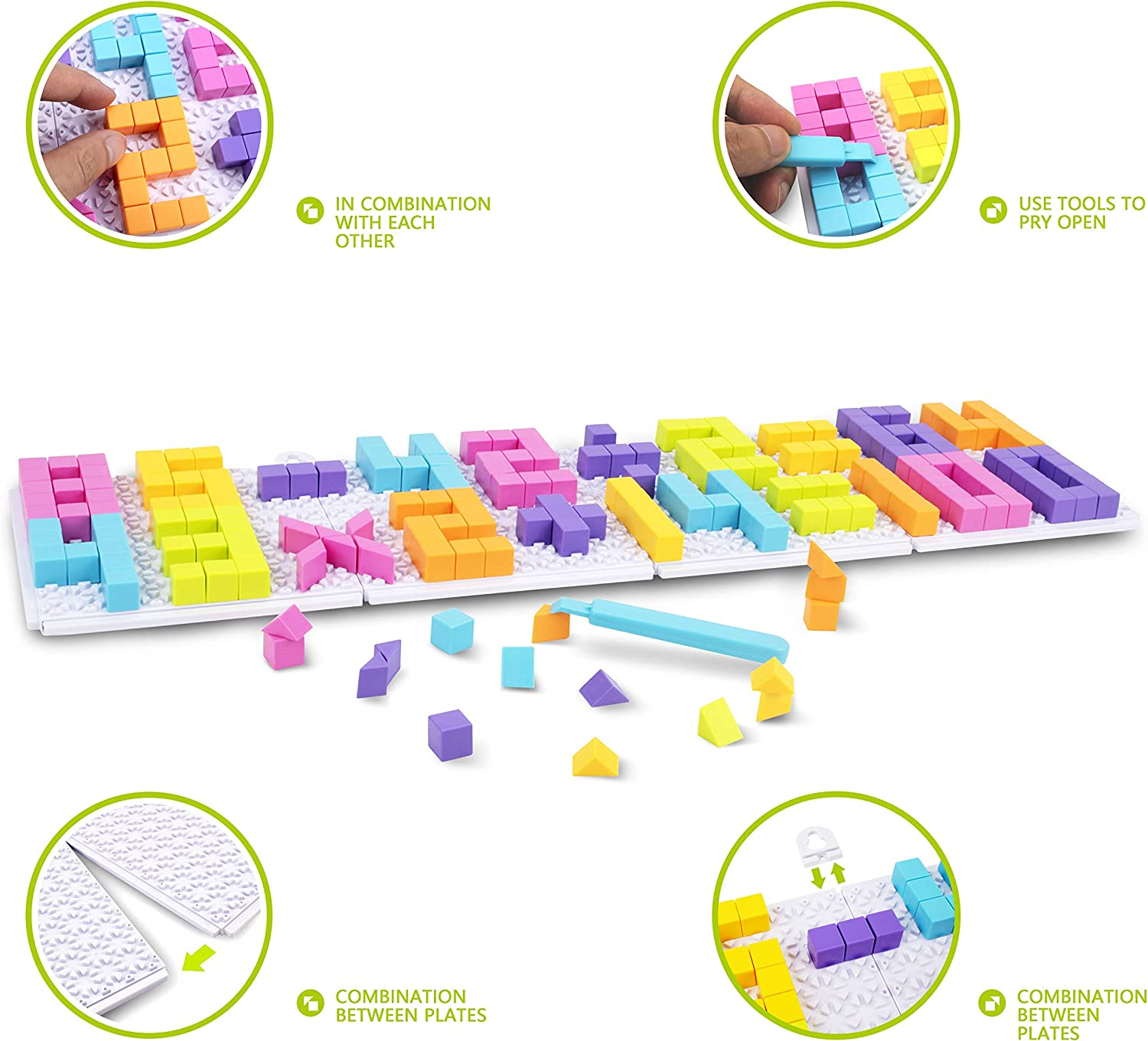 Puzzlers for Kids UNIH Plus Plus Building Toys and Educational Letters and Numbers for Toddlers 1,2,3,4 Years Old Girls and Boys 420pcs