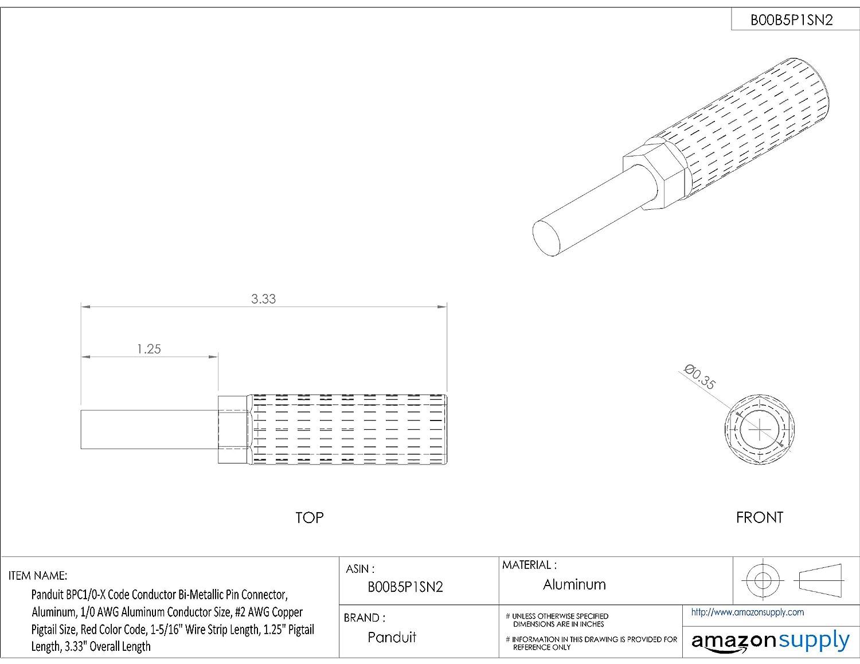 Panduit BPC4/0-X Code Conductor Bi-Metallic Pin Connector, Aluminum ...