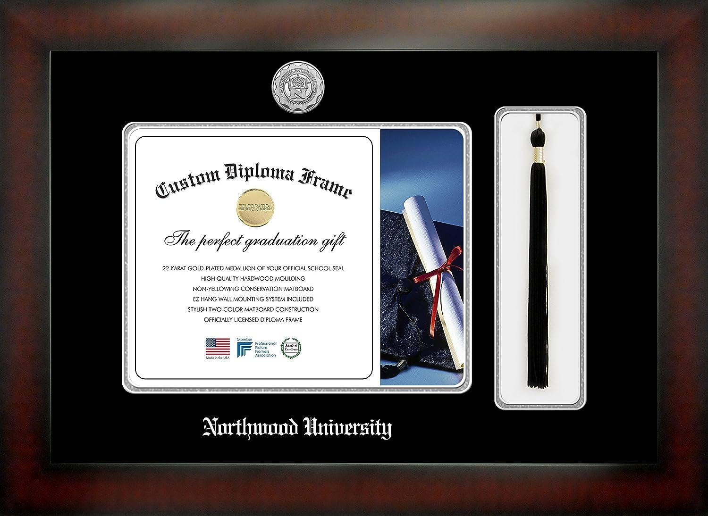 Celebration Frames Northwood University 8/½ x 11 Mahogany Finish Infinity Diploma Frame with Tassel Box