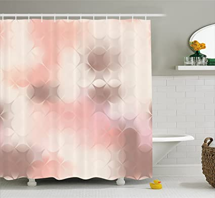 Ambesonne Peach Shower Curtain Abstract Square Shapes With Stars Pattern Warm Color Scheme Modern Artwork