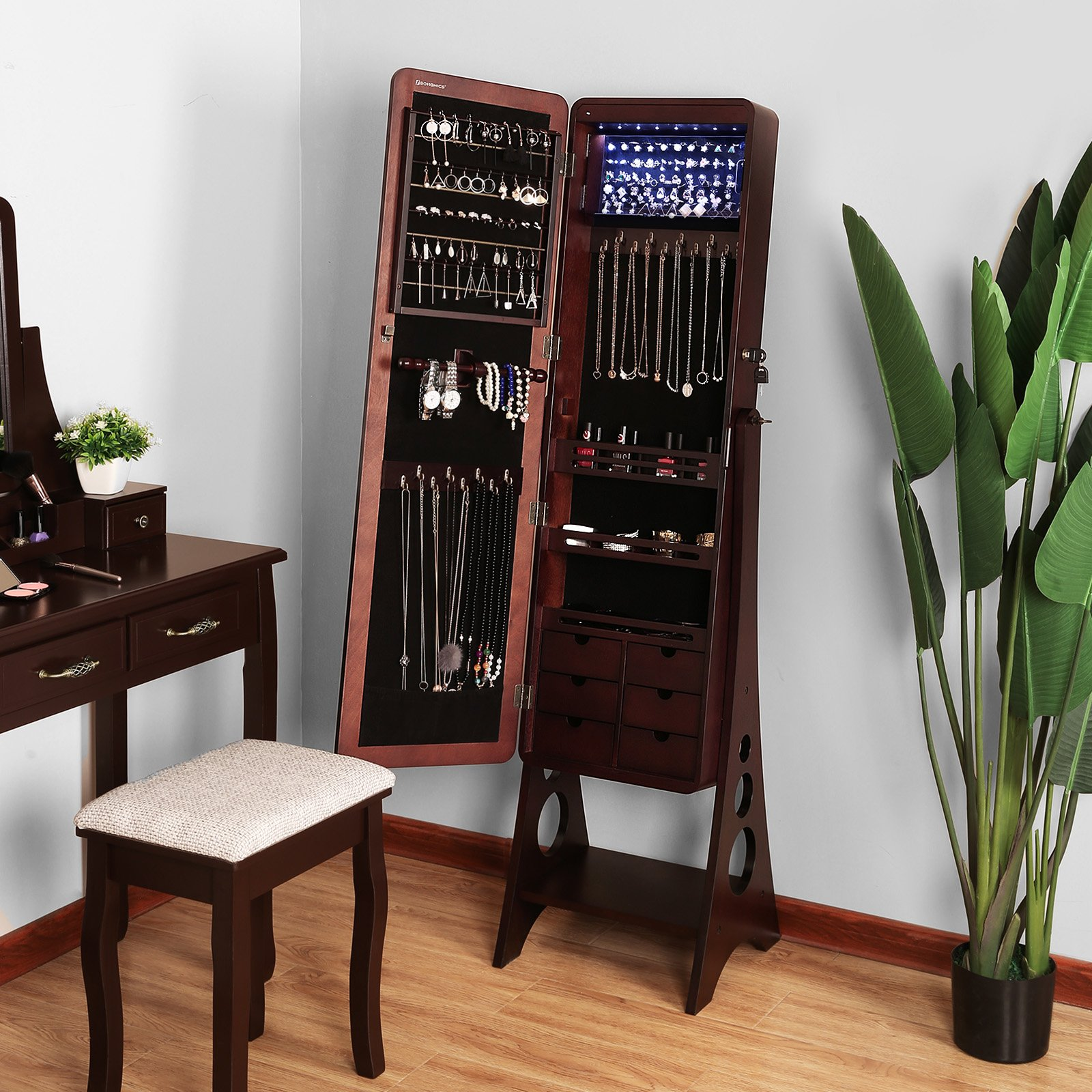 SONGMICS 8 LEDs Jewelry Cabinet Armoire with Beveled Edge Mirror, Gorgeous Jewelry Organizer Large Capacity Brown Patented UJJC89K by SONGMICS (Image #3)