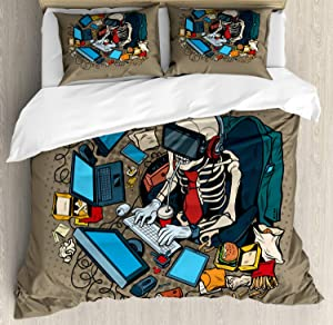 Ambesonne Gamer Duvet Cover Set, Skeleton Programmer and Hacker in Virtual Reality Eating Fast Food Theme Illustration, Decorative 3 Piece Bedding Set with 2 Pillow Shams, Queen Size, Khaki Blue
