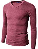 Doublju Mens V-Neck T-shirts with Long Sleeve