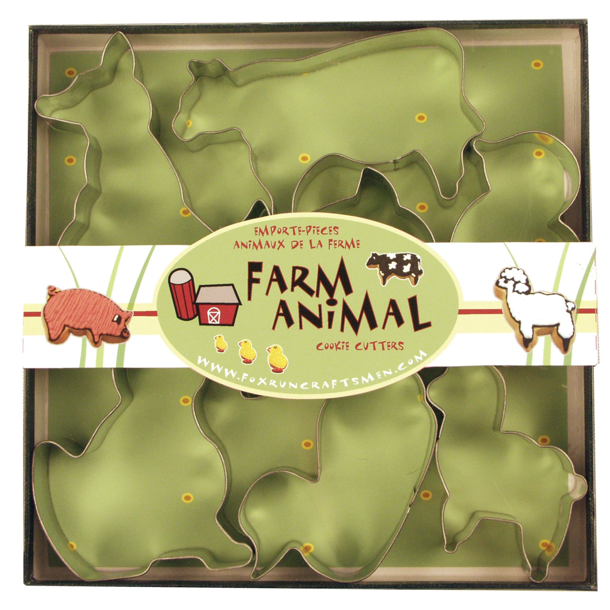 Fox Run 3651 Farm Animal Cookie Cutter Set, Stainless Steel, 7-Piece