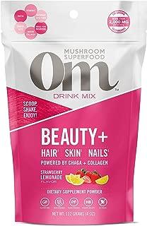 product image for Om Mushroom Superfood Drink Mix, Beauty Plus, Strawberry Lemonade, 4 Ounce (18 Day Supply), Chaga, King Trumpet, Maitake, Cordyceps, Shiitake, Biotin & Collagen, Hair Skin Nails Supplement