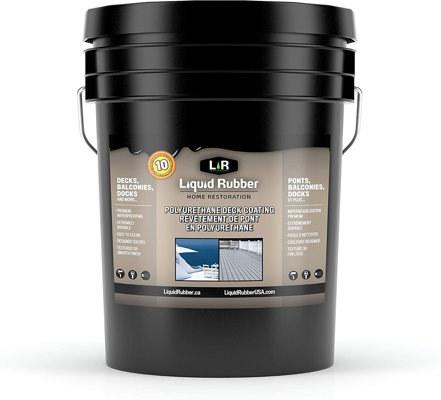 Liquid Rubber Textured Polyurethane Deck And Dock Coating Easy To Apply Uv Resistant Sealant Indoor Outdoor Use Saddle Brown 5 Gallon Amazon Com