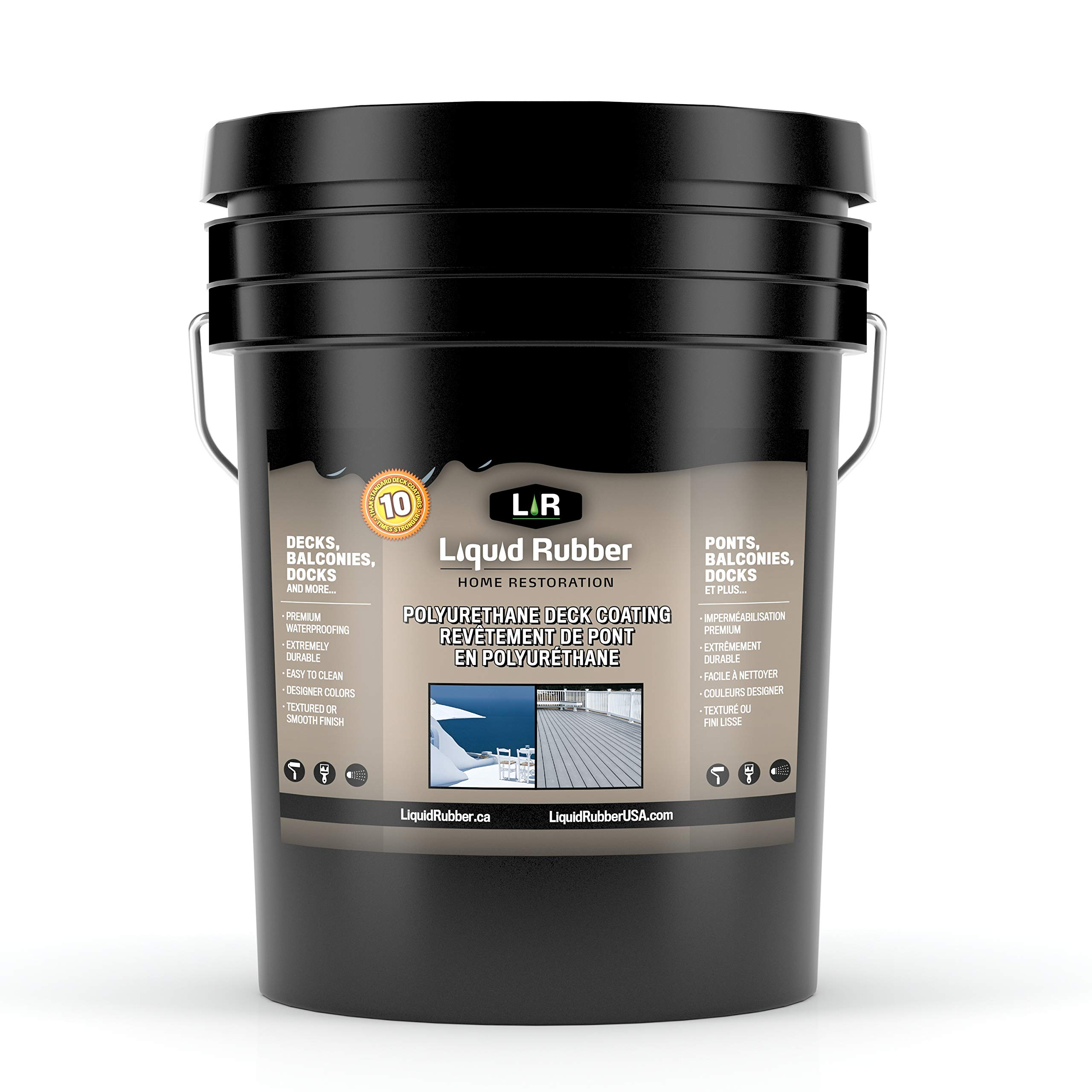 Liquid Rubber Textured Polyurethane Deck and Dock Coating/Sealant - Easy to Apply | UV Resistant | Indoor/Outdoor Use | Stone Grey | 5 Gallon