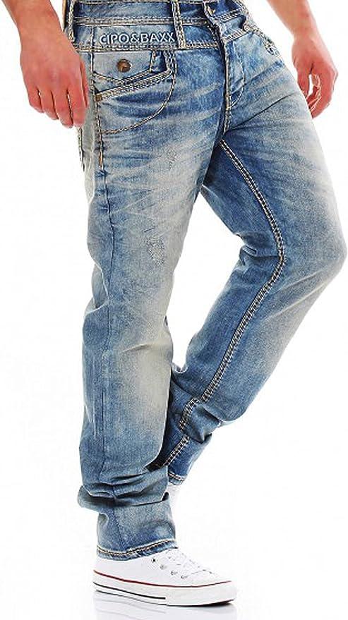 Cipo/&Baxx Pantal/ón de Mujer Pantalones Cintura Baja Suave Tela Regular Fit Stretch Tubo