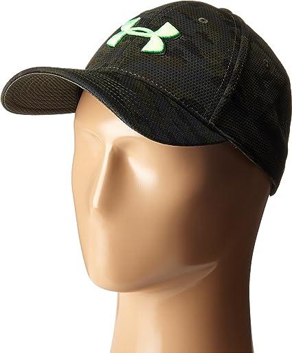 Under Armour Men s UA Print Blitzing Stretch Fit Cap Combat  Green Black Laser Green 03770c25654b