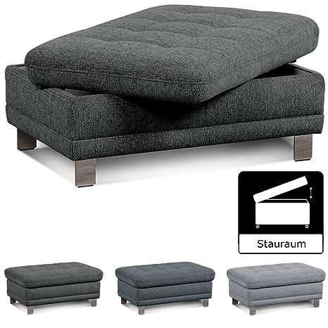 Cavadore Sofa Hocker Imit Mit Stauraum Praktischer Beistellhocker Sitzhocker Polsterhocker Mit Stauraum Metallfüße Größe 102x46x68 Cm