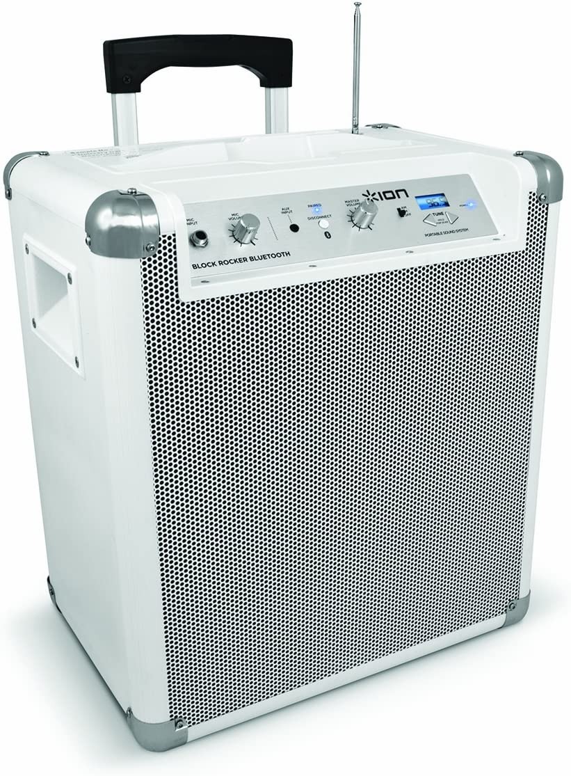 ION Audio Block Rocker BT White 8 Model Portable Bluetooth Speaker  System with Microphone