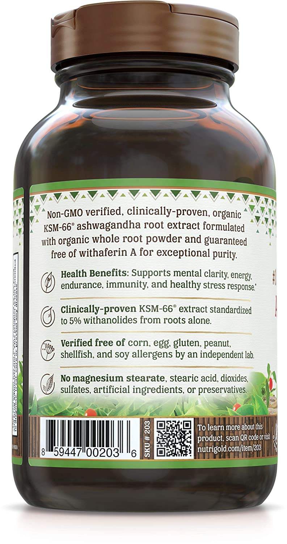 NutriGold Organic Ashwagandha Gold, 500 mg, 90 Plantcaps -  Clinically-Proven, Non-GMO, Full-Spectrum