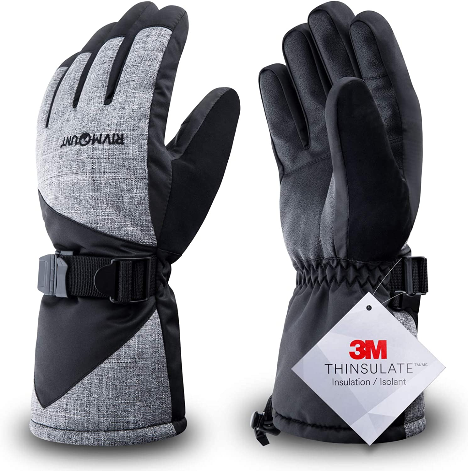 RIVMOUNT Winter Ski Gloves for Men Women,3M Thinsulate Keep Warm Waterproof Gloves for Cold Weather Outside RSG601