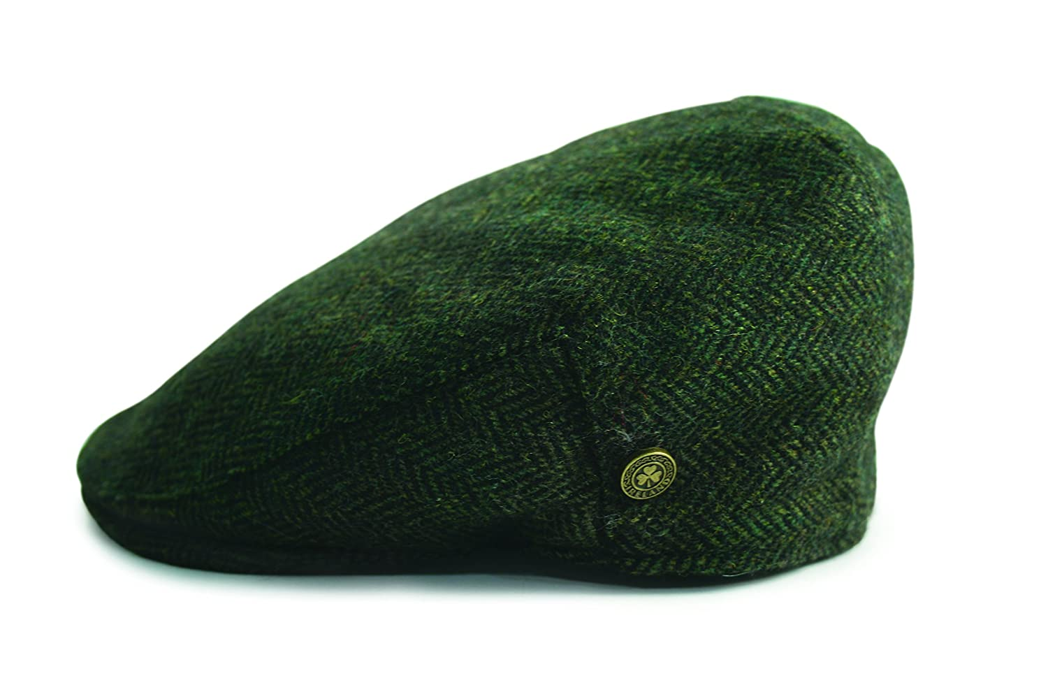 Irish Designed Herringbone Wool Cap With Shamrock Badge, Green Colour Carrolls Irish Gifts