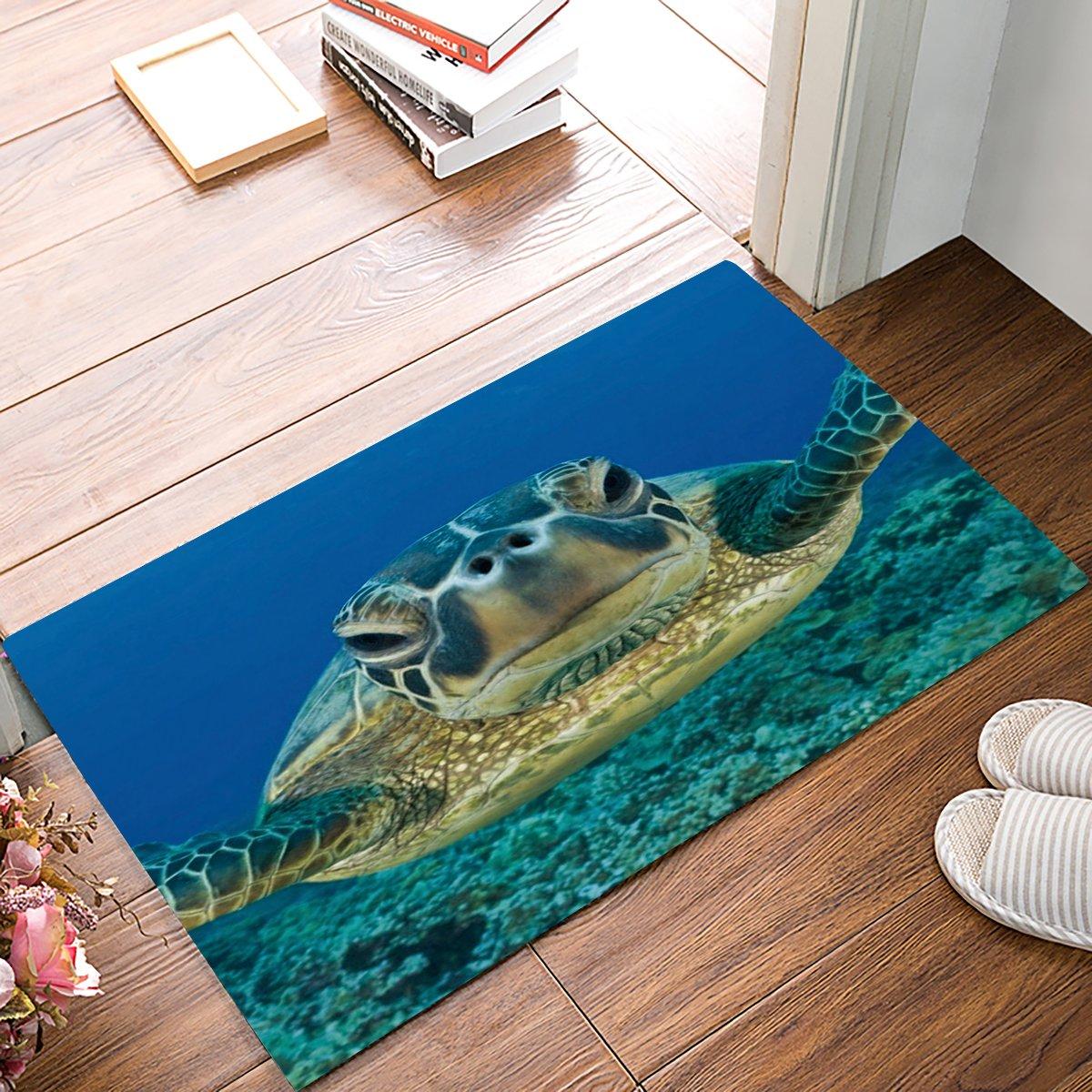 MUSEDAY Ocean Animals Decor Entryway Door Rug 20 x 31.5 inch Floor Mat Underwater Diving Sea Turtle Nature Animal Swimming Doormat Indoor/Outdoor Door Shoe Scraper Rubber Entrance Mat for Home