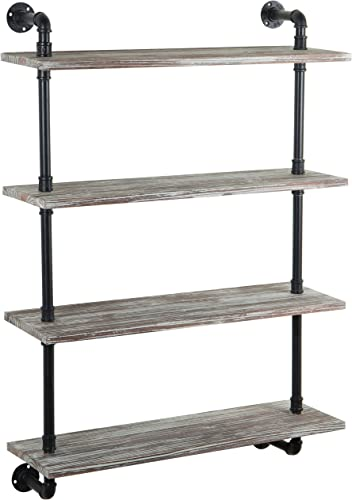 Wall-Mounted Rustic Torched Wood 4-Tier Display Floating Shelf with Industrial Black Metal Pipe