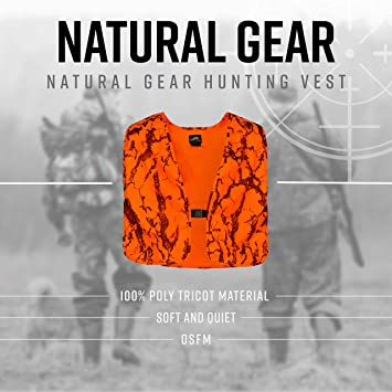 27355b93aba88 Natural Gear Blaze Camo Orange Safety Vest with Velcro Closure, Lightweight  Hunting Vest for Men, 100% Poly Tricot Material - Camouflage Hunting  Apparel ...