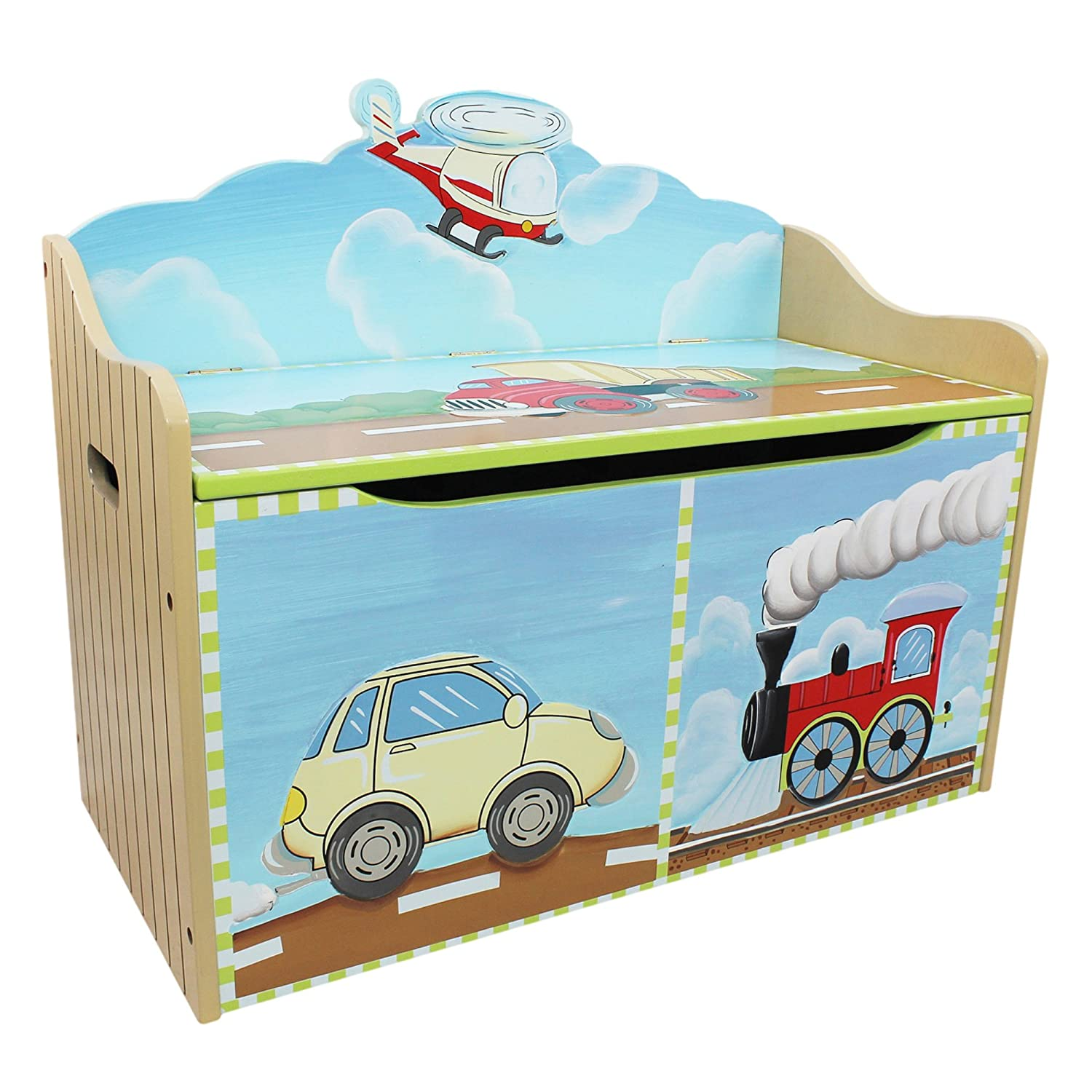 Kids wooden toy chest sunny safari - Amazon Com Fantasy Fields Transportation Thematic Kids Wooden Toy Chest With Safety Hinges Imagination Inspiring Hand Crafted Hand Painted Details
