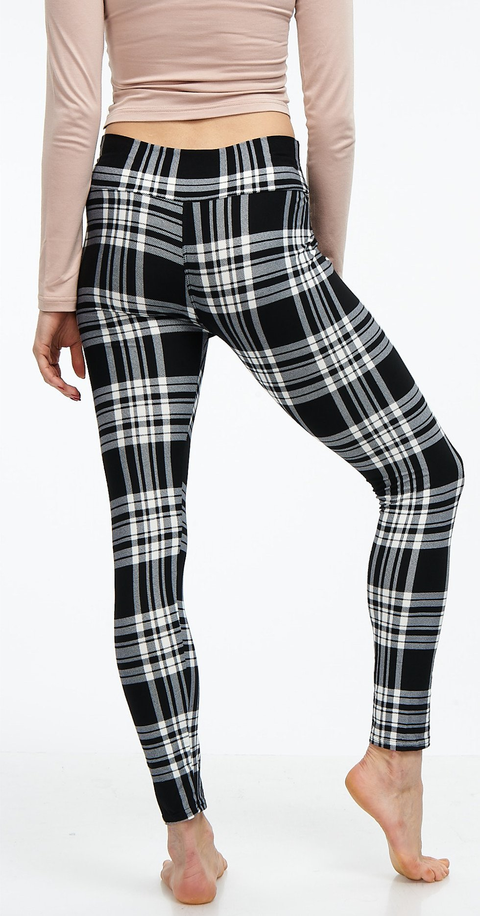 LMB Lush Moda Extra Soft Leggings with Designs- Variety of Prints Yoga Waist - 769YF Black White Plaid B5 by LMB (Image #7)